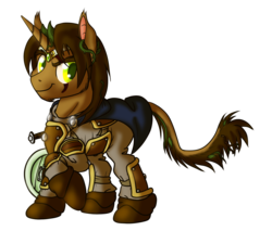 Size: 1280x1088 | Tagged: armor, artist:hywther, cape, classical unicorn, clothes, cloven hooves, diadem, dungeons and dragons, ear fluff, leonine tail, oc, pen and paper rpg, pony, ponyfinder, rpg, safe, scar, smiling, smirk, sorcerer, sword, targe shield, unicorn, unshorn fetlocks, vines, weapon
