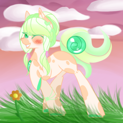 Size: 1024x1024 | Tagged: artist:blocksy-art, earth pony, female, mare, oc, oc:summer flores, one eye closed, pony, safe, solo, wink
