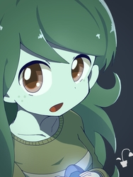 Size: 768x1024   Tagged: safe, artist:erufi, wallflower blush, equestria girls, equestria girls series, forgotten friendship, anime, clothes, colored pupils, cute, female, flowerbetes, freckles, looking at you, memory stone, open mouth, shirt, simple background, solo