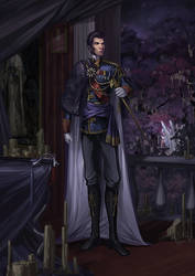 Size: 1920x2716   Tagged: dead source, safe, artist:sunset tide, king sombra, princess celestia, human, idw, spoiler:comic, spoiler:comic18, boots, bust, candle, cape, clothes, fine art emulation, good king sombra, handsome, humanized, majestic, male, man, painterly, painting, portrait, saber, scepter, shoes, sideburns, stupid sexy good king sombra, stupid sexy sombra, twilight scepter, uniform, winged humanization, wings, wishing garden
