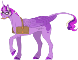 Size: 1200x933 | Tagged: safe, artist:bijutsuyoukai, oc, alicorn, pony, female, glasses, leonine tail, magical lesbian spawn, mare, offspring, parent:princess cadance, parent:twilight sparkle, parents:twidance, saddle bag, simple background, solo, transparent background