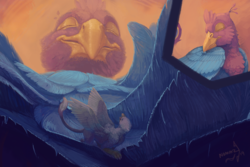 Size: 1500x1000 | Tagged: safe, artist:nommz, oc, oc only, oc:der, oc:gyro feather, oc:gyro tech, griffon, behaving like a bird, birds doing bird things, duo, feather, griffonized, male, micro, preening, species swap, spread wings, wings
