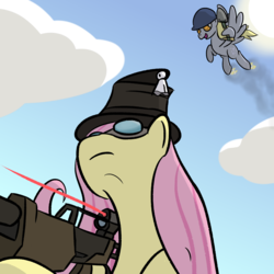 Size: 2560x2560 | Tagged: safe, artist:phat_guy, derpibooru exclusive, derpy hooves, fluttershy, pegasus, pony, cloud, female, ghostly gibus, gibus, gun, hat, helmet, hoof hold, impending doom, low angle, mare, market gardener, oblivious, pyrovision goggles, rifle, rocket jump, shovel, smiling, sniper, sniper rifle, soldier, sun, team fortress 2, the classic, weapon