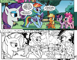 Size: 756x596 | Tagged: safe, artist:pencils, idw, applejack, pinkie pie, rainbow dash, rarity, twilight sparkle, earth pony, pegasus, pony, unicorn, spoiler:comic, spoiler:comicidw2020, black and white, colored background, comic, crepuscular rays, dialogue, element of loyalty, error, female, filly, filly applejack, filly pinkie pie, filly twilight sparkle, grayscale, group, lineart, mare, monochrome, official comic, time travel, tree, work-in-progress, younger