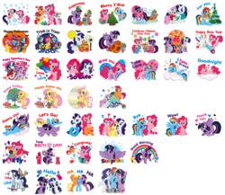 Size: 1813x1576 | Tagged: alicorn, apple bloom, applejack, balloon, bat, box art, christmas, christmas tree, clothes, cloud, costume, cutie mark crusaders, dress, easter egg, egg, fluttershy, halloween, heart, holiday, ice skates, laughing, nightmare night, nightmare night costume, official, official art, party cannon, pinkie pie, present, pumpkin, rainbow, rainbow dash, rarity, safe, scarf, scootaloo, simple background, sled, spike, sticker, stock image, stock vector, sweetie belle, transparent background, tree, twilight sparkle, twilight sparkle (alicorn)