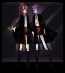 Size: 1600x1778 | Tagged: safe, artist:weiliy, sour sweet, sunny flare, human, equestria girls, friendship games, barrette, blouse, blushing, boots, clothes, coat, duo, ear piercing, earring, eyelashes, eyeshadow, female, hair tie, hairclip, hairpin, jewelry, kneesocks, long socks, looking at you, makeup, piercing, pixiv, ponytail, ribbon, shoes, shorts, smiling, socks, standing