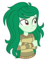 Size: 3402x4335 | Tagged: safe, artist:mandash1996, wallflower blush, equestria girls, equestria girls series, forgotten friendship, clothes, crossed arms, cute, female, flowerbetes, freckles, simple background, solo, sweater, transparent background, vector
