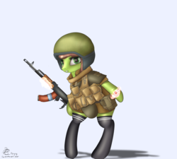 Size: 3000x2700 | Tagged: ak-74, artist:lakunae, bakelite, chechnya, clothes, cyrillic, female, mare, military, military uniform, oc, oc:oil drop, pony, purgatory, russian, safe, socks, weapon