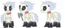 Size: 7459x3222 | Tagged: alternate version, artist:sketchmcreations, ascot, axe, bone, boots, commission, reference sheet, safe, shoes, simple background, skeleton, skeleton pony, skellinore, the break up breakdown, transparent background, vector, weapon