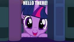 Size: 2048x1152 | Tagged: safe, edit, edited screencap, screencap, twilight sparkle, alicorn, pony, amending fences, book, caption, cute, daaaaaaaaaaaw, hello, image macro, impact font, meme, text, twiabetes, twilight sparkle (alicorn)