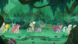 Size: 2880x1620 | Tagged: alicorn, alternate timeline, berry punch, berryshine, blues, bodypaint, carrot top, chrysalis resistance timeline, everfree forest, fluttershy, forest, golden harvest, linky, mud, noteworthy, resistance leader zecora, river, royal riff, safe, screencap, shoeshine, spike, stream, the cutie re-mark, tree, tribal pie, tribalshy, twilight sparkle, twilight sparkle (alicorn)
