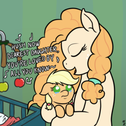 Size: 1200x1200 | Tagged: apple, applejack, artist:mkogwheel, baby, babyjack, baby pony, crib, crying, cute, dawwww, eyes closed, female, floppy ears, foal, food, frown, hnnng, holding a pony, hug, jackabetes, lullaby, mare, mother and daughter, music notes, open mouth, pear butter, pony, sad, sadorable, safe, singing, smiling, teary eyes, text