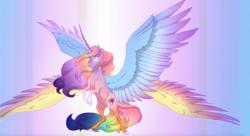 Size: 1745x951 | Tagged: safe, artist:empkinilly, applejack, fluttershy, pinkie pie, rainbow dash, rarity, twilight sparkle, alicorn, bicorn, seraph, seraphicorn, appleflaritwidashpie, fusion, mane six, multiple wings, twilight sparkle (alicorn)