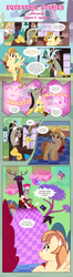 Size: 1919x7256 | Tagged: safe, artist:estories, discord, fluttershy, oc, oc:alice goldenfeather, draconequus, pegasus, pony, comic:find yourself, comic, dialogue, discord's throne, female, finger snap, floppy ears, hallelujah, male, mare, plushie, ponyville train station, sweat, sweatdrop
