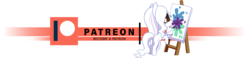 Size: 1280x298 | Tagged: artist:arctic-fox, bipedal, earth pony, mouth hold, oc, oc:ashley fox, oc only, paintbrush, painting, patreon, patreon logo, pony, safe, simple background, transparent background