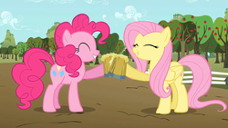 Size: 1280x720 | Tagged: apple tree, cheers, cider, duo, earth pony, eyes closed, female, fence, fluttershy, happy, mare, mug, pegasus, pinkie pie, pony, safe, screencap, smiling, the super speedy cider squeezy 6000, tree