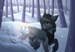 Size: 3580x2460 | Tagged: safe, artist:shadow-nights, oc, oc only, oc:pandie, pegasus, pony, commission, fangs, female, flower, forest, mare, red eyes, snow, snowfall, solo, tree, winter, ych result