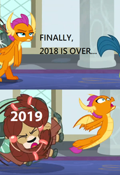 Size: 532x772 | Tagged: 2018, 2019, cloven hooves, dragon, dragoness, edit, edited screencap, faic, female, gallus, meme, new year, ouch, safe, school daze, screencap, smolder, spinning, spoiler:s08e01, spoiler:s08e02, yak, yona