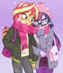 Size: 1200x1400 | Tagged: safe, artist:ta-na, sci-twi, sunset shimmer, twilight sparkle, equestria girls, blushing, clothes, coat, cute, daaaaaaaaaaaw, female, glasses, lesbian, scarf, scitwishimmer, shared clothing, shared scarf, shipping, sunsetsparkle