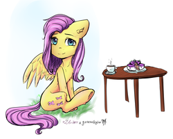 Size: 6000x4800 | Tagged: artist:generallegion, artist:zefirka, cake, collaboration, cup, cute, female, fluttershy, food, looking at you, mare, pony, safe, simple background, sitting, smiling, solo, table, tea, teacup