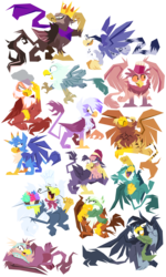 Size: 1152x1920 | Tagged: artist:dizzpacito, background griffon, crown, crown of grover, cupcake, cute, eyes closed, female, food, gabby, gabbybetes, galena, gallus, gertrude, gigi, gilda, gimme moore, glenda, grampa gruff, greta, griffon, gunter (griffon), gustave le grande, jewelry, king grover, li'l griffon, male, open mouth, regalia, safe, simple background, transparent background