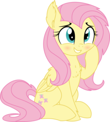 Size: 5047x5604 | Tagged: safe, artist:aureai-sketches, artist:cyanlightning, fluttershy, pegasus, pony, .svg available, absurd resolution, blushing, chest fluff, cute, ear fluff, female, folded wings, grin, leg fluff, mare, shyabetes, simple background, sitting, smiling, solo, squishy cheeks, transparent background, vector, wings