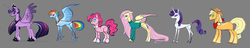 Size: 9656x1838 | Tagged: safe, artist:varwing, applejack, fluttershy, pinkie pie, rainbow dash, rarity, twilight sparkle, alicorn, earth pony, pegasus, pony, unicorn, alternate design, blank flank, bowtie, cartoony, clothes, coat markings, colored hooves, dock, ethereal mane, female, goggles, gray background, jewelry, line-up, mane six, mare, neckerchief, no pupils, rainbow power, regalia, simple background, size difference, spread wings, starry mane, sweater, sweatershy, tail feathers, twilight sparkle (alicorn), unshorn fetlocks, wings