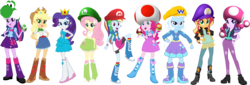 Size: 2204x747 | Tagged: safe, artist:76859thomasreturn, artist:daniotheman, artist:gihhbloonde, artist:ponyvio, artist:sugar-loop, artist:zeldarondl, applejack, fluttershy, pinkie pie, rainbow dash, rarity, starlight glimmer, sunset shimmer, trixie, twilight sparkle, alicorn, yoshi, equestria girls, barely eqg related, cap, clothes, cosplay, costume, crossover, fire flower, hat, luigi, luigi's hat, luigishy, maridash, mario, mario & luigi, mario's hat, mushroom, mushroom hat, nintendo, princess daisy, princess peach, raripeach, super mario bros., toad (mario bros), toad pie, toadette, twilight sparkle (alicorn), waluigi, waluigi's hat, waluset, wario, wario's hat, yoshi egg, yoshilight