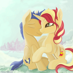 Size: 1450x1450 | Tagged: artist:pedrohander, cute, female, flashimmer, flash sentry, male, pegasus, pony, safe, shipping, straight, sunset shimmer, unicorn