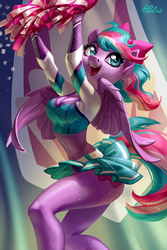 Size: 1378x2067 | Tagged: safe, artist:holivi, oc, oc only, oc:spirit sparkle, pegasus, anthro, adorasexy, anthro oc, belly button, belt, bow, breasts, cheerleader, cleavage, clothes, cute, female, hair bow, legs, mare, midriff, miniskirt, open mouth, pleated skirt, pom pom, schrödinger's pantsu, sexy, short shirt, signature, skirt, skirt lift, solo