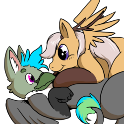 Size: 512x512 | Tagged: antlers, artist:wishwasher, big eyes, chest fluff, clothes, cute, griffon, happy, looking at each other, lying down, oc, oc:antler pone, oc:fluffy (the griffon), oc only, original species, pony, safe, simple background, smiling, socks, source needed, transparent background