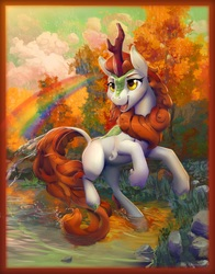 Size: 5725x7300 | Tagged: safe, artist:viwrastupr, autumn blaze, kirin, sounds of silence, absurd resolution, cloud, cloven hooves, colored hooves, female, open mouth, rainbow, rearing, rock, solo, tree, water