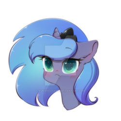 Size: 600x600 | Tagged: alicorn, artist:yukandasama, cute, deviantart watermark, female, mare, obtrusive watermark, pony, princess luna, safe, simple background, solo, transparent background, watermark