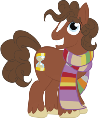 Size: 1280x1517   Tagged: safe, artist:sixes&sevens, doctor whooves, time turner, earth pony, pony, blaze (coat marking), doctor who, fourth doctor, fourth doctor's scarf, male, ponified, simple background, solo, transparent background