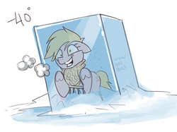 Size: 763x572 | Tagged: artist:bigrigs, cold, derpy hooves, faic, female, frozen, ice, mare, pony, safe, simple background, solo, white background, wow