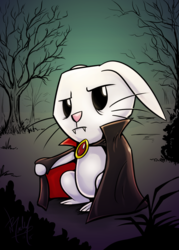 Size: 643x900 | Tagged: angel bunny, animal, artist:droakir, cloak, clothes, dead tree, fangs, floppy ears, rabbit, safe, solo, tree, vampire