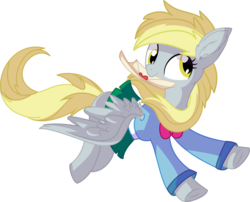 Size: 7947x6416 | Tagged: safe, artist:aureai-sketches, artist:cyanlightning, derpy hooves, pegasus, pony, .svg available, absurd resolution, bowtie, chest fluff, clothes, cross-eyed, cute, derpabetes, ear fluff, equestria girls outfit, female, flying, letter, mare, miniskirt, silly, simple background, skirt, spread wings, transparent background, vector, wings