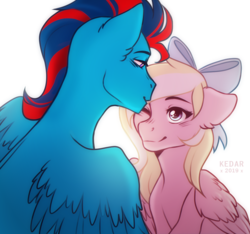 Size: 770x722 | Tagged: artist:kedar, blushing, bow, couple, cute, female, forehead kiss, hair bow, kissing, lidded eyes, looking at each other, male, multicolored hair, oc, oc:andrew swiftwing, oc:bay breeze, oc only, one eye closed, pegasus, pony, safe, shipping, smiling, spread wings, swiftbreeze, wings