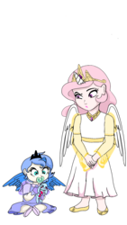 Size: 720x1280 | Tagged: artist:tsundra, baby, cewestia, child, female, horned humanization, human, humanized, pacifier, pink-mane celestia, princess celestia, princess luna, safe, sisters, unamused, winged humanization, wings, woona, younger