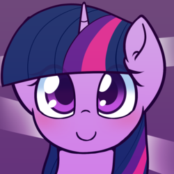 Size: 1000x1000 | Tagged: safe, artist:puetsua, twilight sparkle, pony, avatar, bust, cute, female, looking at you, mare, portrait, purple, smiling, solo, twiabetes