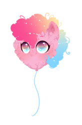 Size: 501x762 | Tagged: alternate hair color, artist:rossignolet, balloon, balloon pony, cheek fluff, chin fluff, colored pupils, cute, diapinkes, ear fluff, female, fluffy, gradient mane, messy mane, multicolored eyes, multicolored hair, pinkie pie, safe, simple background, smiling, solo, starry eyes, transparent background, wat, wingding eyes