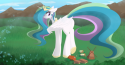 Size: 5752x3000 | Tagged: safe, artist:posionjoke, princess celestia, alicorn, griffon, pony, butt, dock, female, giantlestia, imminent crushing, imminent death, macro, mare, plot, this will end in death, this will end in detention, windmill