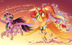 Size: 2400x1500 | Tagged: alicorn, alicornified, artist:dragbax, duo, ethereal mane, flying, jewelry, looking at each other, pony, race swap, safe, shimmercorn, sky, sunset shimmer, twilight sparkle, twilight sparkle (alicorn)
