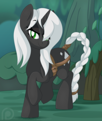 Size: 1274x1515 | Tagged: artist:pearlyiridescence, bedroom eyes, belt, braid, braided tail, everfree forest, female, hair over one eye, hooves, looking at you, mare, oc, oc only, part of a set, pony, raised hoof, safe, smiling, solo, unicorn