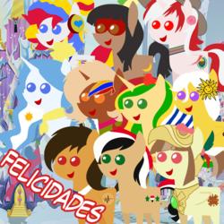 Size: 894x894 | Tagged: safe, artist:archooves, oc, oc only, oc:camila, oc:chilenia, oc:kantuta (miski' hooves), oc:kuruminha, oc:nucita, oc:princess argenta, oc:princess peruvia, oc:syriana, oc:tailcoatl, alicorn, earth pony, pegasus, pony, argentina, bolivia, brazil, chile, colombia, female, hat, mare, mexico, nation ponies, open mouth, peru, pointy ponies, ponified, smiling, spanish, starry eyes, syria, uruguay, venezuela, wingding eyes