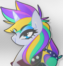 Size: 1026x1074 | Tagged: safe, artist:euphoriapony, rarity, pony, unicorn, it isn't the mane thing about you, alternate hairstyle, bust, cute, female, heart eyes, mare, one eye closed, punk, raribetes, raripunk, solo, wingding eyes, wink