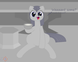 Size: 3000x2379 | Tagged: safe, artist:onil innarin, oc, oc only, oc:slate pie, pony, bowl, cute, female, implied milking, looking at you, mare, milk, signature, sitting, solo, table, talking to viewer