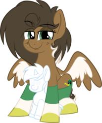 Size: 991x1200 | Tagged: safe, artist:binkyt11, derpibooru exclusive, oc, oc only, oc:duck badge, pegasus, pony, unicorn, 2019 community collab, derpibooru, derpibooru community collaboration, background pony, clothes, default avatar, derpibooru ponified, dreamworks face, eyeshadow, female, freckles, implied shipping, looking at you, makeup, mare, medibang paint, meta, no pupils, phone drawing, plushie, ponified, simple background, smug, socks, solo, spread wings, striped socks, transparent background, wings