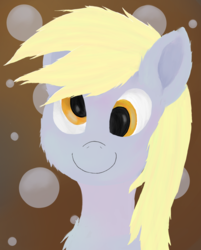 Size: 1508x1876 | Tagged: safe, artist:akuneanekokuro, derpy hooves, pony, abstract background, derp, digital art, female, mare, smiling, solo