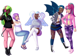 Size: 3000x2173 | Tagged: safe, artist:emberfan11, indigo zap, lemon zest, sour sweet, sugarcoat, sunny flare, human, vampire, equestria girls, friendship games, :3, belt, boots, breasts, camouflage, choker, cleavage, clothes, commission, converse, dark skin, death metal, diversity, ear piercing, earring, eyebrow piercing, eyes closed, eyeshadow, face tattoo, feet, female, fingerless gloves, flats, freckles, glasses, gloves, goggles, headband, headphones, hoodie, humanized, jeans, jewelry, lip piercing, lipstick, makeup, mary janes, metalhead, miniskirt, nail polish, nose piercing, nose ring, one eye closed, open mouth, opeth, pants, piercing, pigtails, ponytail, progressive metal, sandals, shadow five, shirt, shoes, simple background, skirt, snake bites, socks, spiked choker, spiked wristband, stockings, sweater, t-shirt, tanktop, tattoo, thigh highs, transparent background, wall of tags, winged humanization, wings, wink, wristband, zettai ryouiki